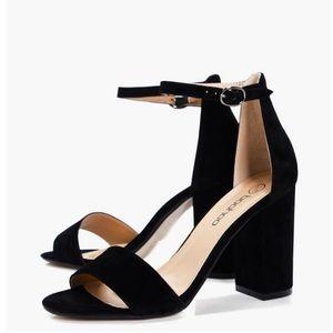 Boohoo Black Two Part Block Heels